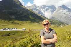 Uz pāreju Galibier Francijas Dofinē Alpos 23-07-2017